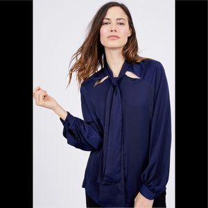 Midnight blue silky blouse. NWOT